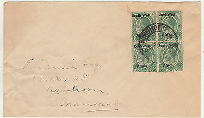 South West Africa 1923 Kgv 1/2D Block Cover To Transvaal South Africa
