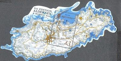 Alderney Map Ist edition min sheet issued 1.2.2017-mnh