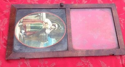 Painted Glass Panel And Door American Wall Clock Og Ansonia Ingram New Haven