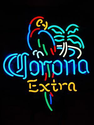 """Brand New Corona Extra Parrot Real Glass Tube Beer Bar Neon Light Sign 16""""x16"""""""