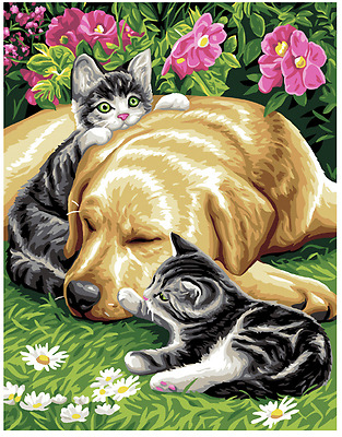 Three Friends - dog and cats - a Royal Paris Printed tapestry Canvas
