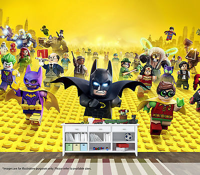 Lego batman movie wall mural wall art quality pastable for Batman mural wallpaper uk