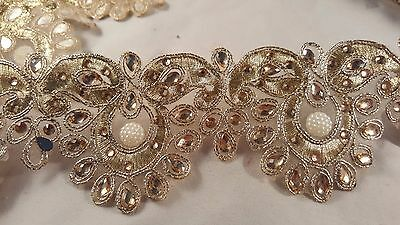 6.5cm- 1 meter Beautiful gold beaded and pearls edging lace trimming for crafts