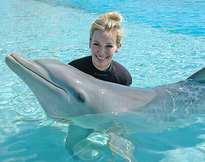 Hilary Duff UNSIGNED photo - H5087 - Swimming with a dolphin!!!!
