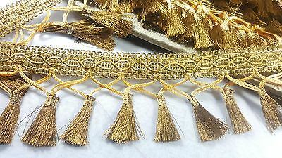 8cm- 1 meter Beautiful Bronze gold thread fringe lace trimming for crafts