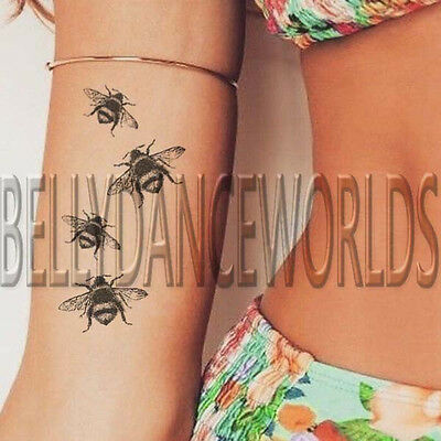 1 Set Of 4 Realistic Bumble Bee Honey Bees Wrist Temporary Tattoo Body Sticker