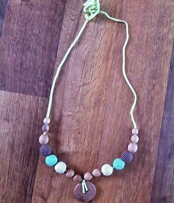 Natural Wood & Crochet Bead Green Teething Necklace For Mom