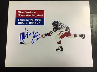 """Mike Eruzione US Olynpic Hockey """"Miracle On Ice"""" Winning Goal Inscribed """"80 Gold"""