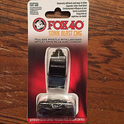 NEW Fox 40 SONIK BLAST CMG Whistle LANYARD Referee COACH Outdoor DOG Black