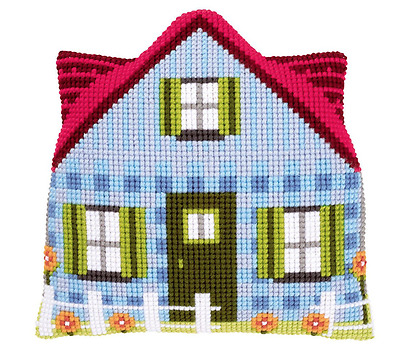 Blue House shaped tapestry cross stitch cushion kit by Vervaco