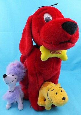 Large Clifford The Big Red Dog With T-Bone & Cleo, Soft Plush Toy