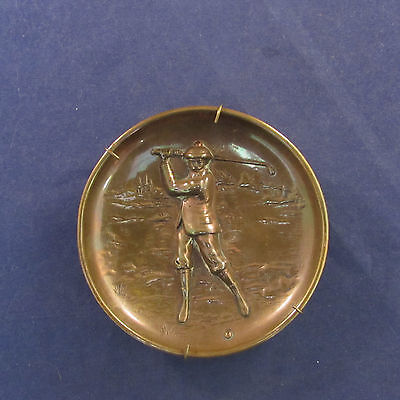 Vintage Copper England Golf / Golfer Plaque / Tray