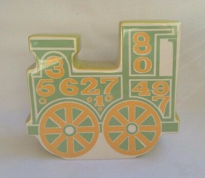 Vintage 60s Retro Carlton Ware Train Money Box -.In Rare Green Colourway
