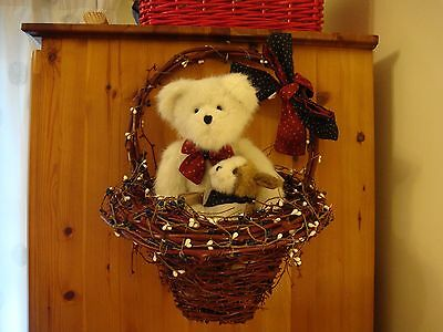 Boyds Bear Summer Beary and Fire Cracker puppy in hanging basket Retired