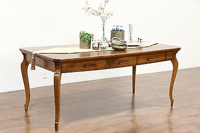 Oak Quarter Sawn Antique 1890 Writing Desk or Library Table, 3 Drawers