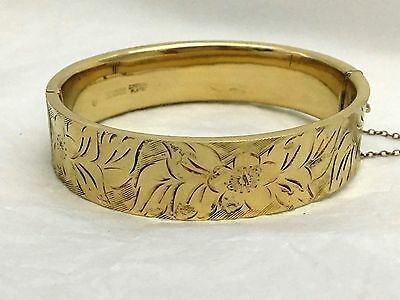 Vintage sterling silver 22ct yellow gold plated hinged bracelet 1973 JS