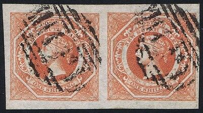 New South Wales 1854 SG 99 1/- Rosy Vermilion 4m Very Fine Used Pair BPA Cert