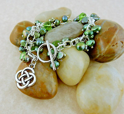 Cha-cha Celtic Knot charm freshwater green pearl bracelet with crystals