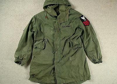 VTG 70s US ARMY M-65 COLD WEATHER FISHTAIL PARKA W/ HOOD MOD SCOOTER S/M