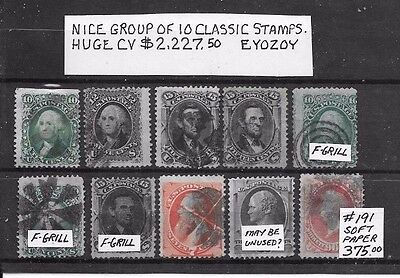 USA Nice Group of 10 used Classic Stamps. HUGE CV $2,227.50. Low start.