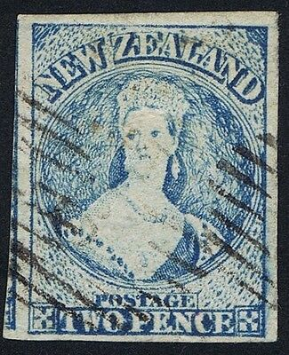 New Zealand 1864 SG 98 2d Pale Blue Fine Used Very Worn Four Margin Cat. £275.00