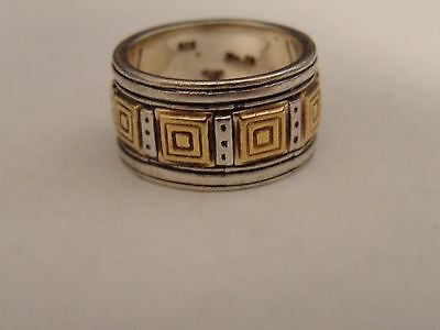 Sterling Silver and 18k Yellow Gold Band Ring size 5 1/2