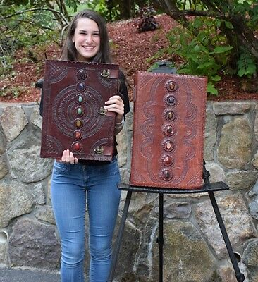 Humongous Leather Embossed Journal Chakra 3 Locks COVEN size Book of Shadows
