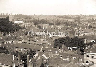 GN 62 PHOTOGRAPH IPSWICH ELEVATED VIEW OVER HOUSING TOWARDS CHURCH c1910