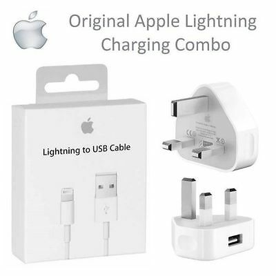 GENUINE APPLE Charger USB Wall Plug / Data Sync Cable For Apple iPhone 5,6,7