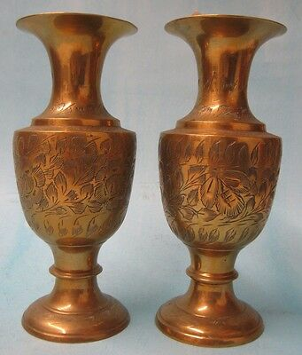 Pair of Hand Carved Brass Vases