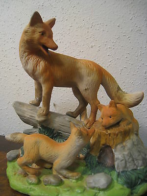 Vintage Porcelain Red Fox Family Hand Painted GEI 1997 China