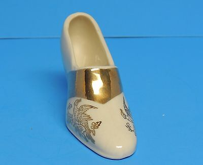 Ladies Decorative Shoe Figurine White with Gold Painted Trim