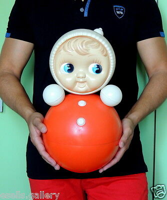 Huge Vintage Russian Nevalyashka Celluloid Plastic Roly Poly Toy Doll USSR 40cm