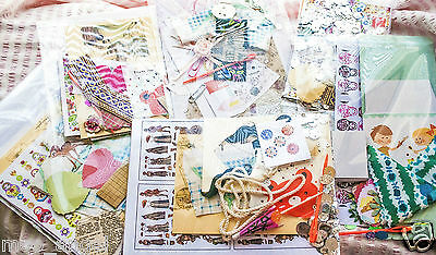 Joblot craft activities packs beads,card,fabric die cuts,ribbons,papers x 10