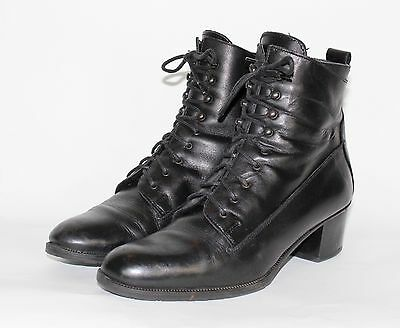 Vintage 80's Black REAL ? LEATHER SMALL HEEL LACE UP Grunge ANKLE PIXIE Boots 5