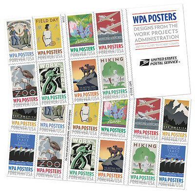 Usa 2017 Mnh Wpa Poster Book Of 20 Stamps After March 14 2017 New Issue!