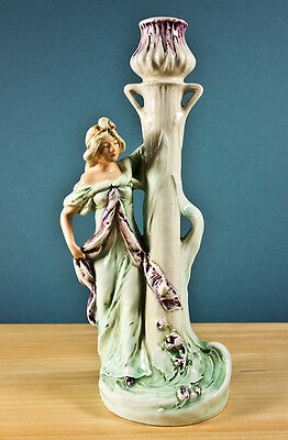 """Lovely Art Nouveau Woman Figure on Porcelain Candlestick, 9"""" Tall, Great Cond."""