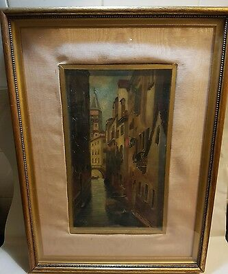 19th century oil on canvas of a Venice scene signed