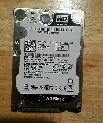 "Western Digital WD 750GB 7200RPM 2.5"" Scorpio Black SATA Hard Drive 0T9H3Y"