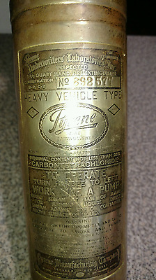 Antique Brass PYRENE Heavy Vehicle Fire Extinguisher Empty, See Pics!