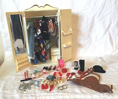 Vintage Sindy wardrobe with lots of clothing and accessories 1970's