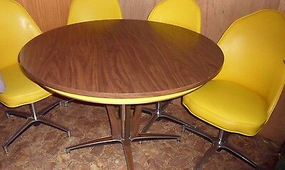 Vintage Chromcraft Dinette Set (with 4 Yellow Swivel Chairs)
