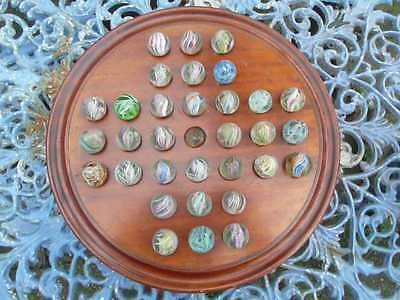 Stunning Rare Large Antique Solitaire Board + 32  Marbles Of A Rare Large Size