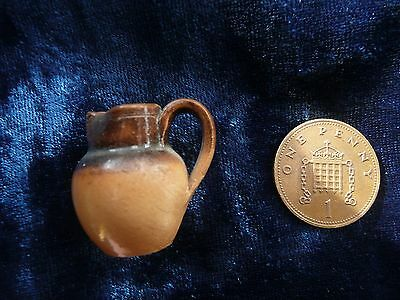 Stunning Miniature Tiny Stoneware Jug In The Manner Of Doulton , Dolls House