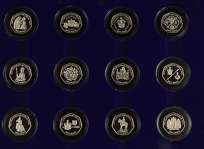 2003 Royal Mint 50th Anniversary of Coronation 12 x Silver Proof 50p Set - Boxed
