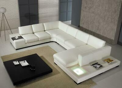 VIG Modern Divani Casa T35 White Cow Leather Corner Sectional Sofa with Light