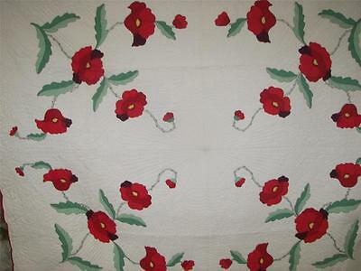 30S Antique Poppies  Applique Completed Kit Quilt Thin Cotton Batting