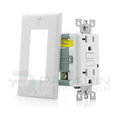 20A GFCI Receptacle Outlet w/ LED & Wallplate UL Listed - White 20 Amp [1 pc]