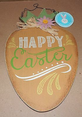 """Easter Wall Decor Happy Easter Wood & Metal Sign 14"""" x 8 """"x 1/4"""" Thick 108P"""