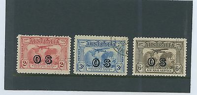1931 Kingsford Smith Hinged Cto 2D 3D 6D Os Australian Stamps 2D Off Centre B41.